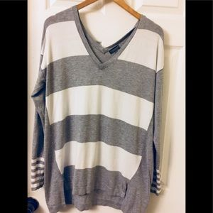 Vince Camuto | Striped Long Sleeve Sweater | Vneck